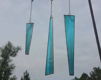 Abstract Turquoise Stained Glass Suncatcher
