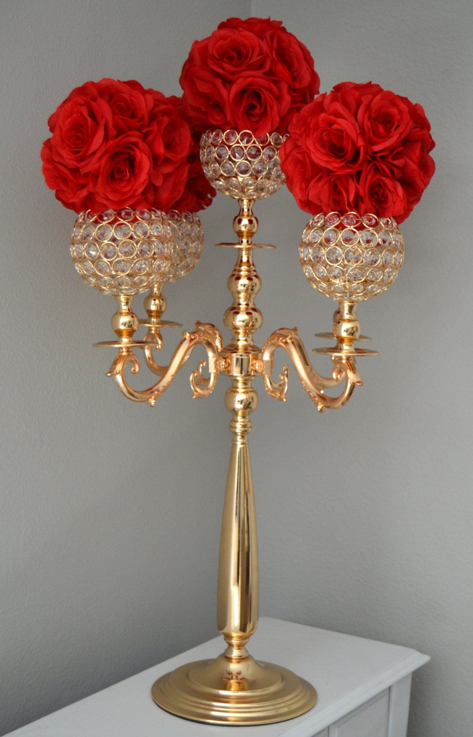 Gold candelabra wedding centerpiece candle
