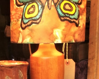 Moth Lamp Shade, Blue/Terracotta, Hand Silk Painted, 20cm Drum, Made To Order.