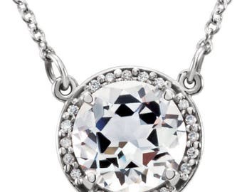 14K White Gold Round White Topaz & .05 CTW Diamond 16 inch Halo Necklace, Anniversary, April Birthstone