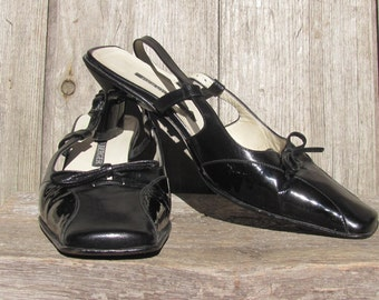 "Vintage Shoes Made in Italy; Bernd Berger Shoes; Italian Leather Shoes size 36 / UK 3 / US 5; Black Shoes; 2 1/4"" Heel Black Slingback Shoes"