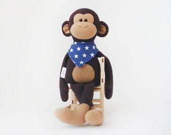 Stuffed monkey toy 38 cm (15 inch), monkey plush doll, stuffed toys, Stuffed animals toy, Ready to Ship