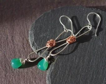 Green Agate Earrings, Rose Bud Earrings Long Drop Earrings Sterling Silver Wrapped Earrings High Shine Mixed Metal Earrings
