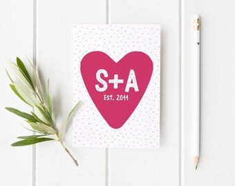 Personalised Anniversary Card, Cute Anniversary Card, Valentines Day Card, First Anniversary Her, Anniversary Card Wife, Card Husband