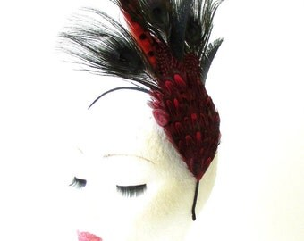 Black Red Pheasant Feather Statement Fascinator Races Headpiece Headband 1750