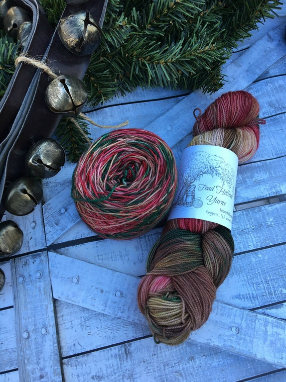 Hand Dyed Yarn - Wild Christmas Reindeer,Indie Dyed Yarn,Christmas Yarn,Superwash Merino,Nylon,Fingering Weight,Sock Yarn,GIft for Knitter