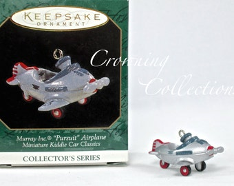 1997 Hallmark Murray Inc Pursuit Airplane Miniature Kiddie Car Classics Keepsake Ornament Christmas Vintage