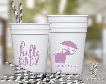 Baby Shower Cups | Personalized Plastic Cup | Monogram Cups | Elephant Party Cups | Party Favor Cups | social graces and Co.
