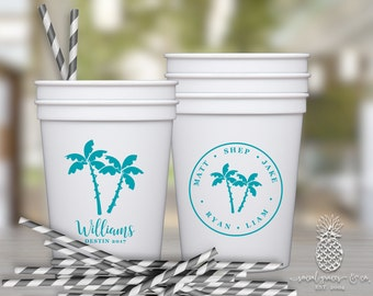 Tropical Palm Tree Cups | Personalized Plastic Cup | Monogram Cups | Spring Break Beach Cups | Party Cups | social graces and Co.