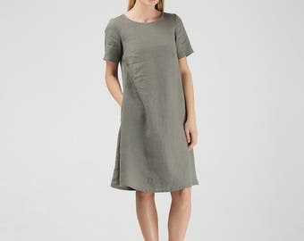 Khaki Green Linen Dress