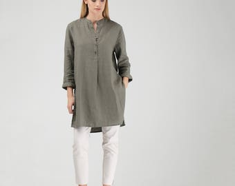 Khaki Green Linen Mandarin Collar Tunic with Side Slits