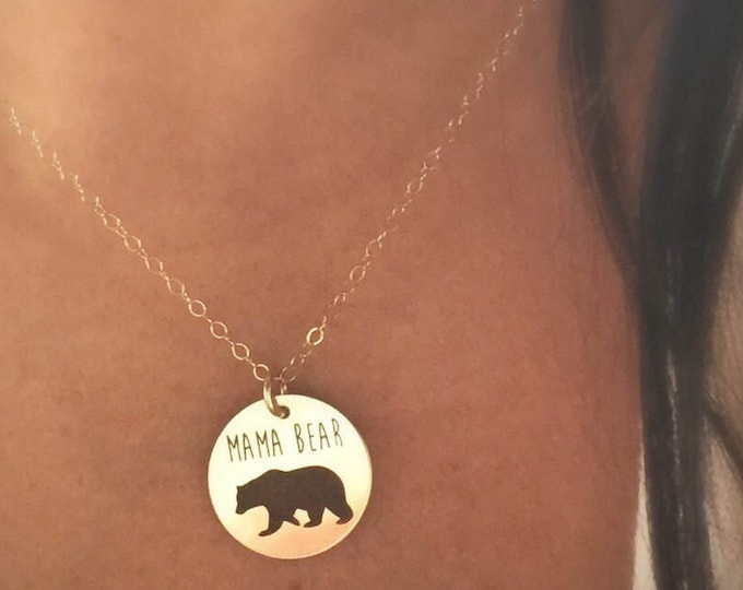 Mama Bear Necklace in Sterling Silver, Yellow Gold or Rose Gold, Mother's Day Gift For Mom Baby Shower Gift Now Available in Sterling Silver