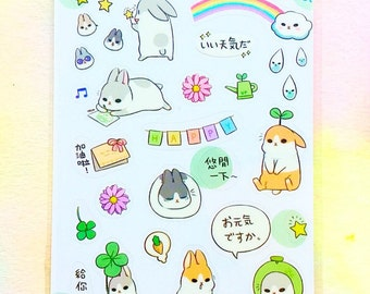 Kawaii rabbit stickers Kawaii stickers Kawaii stationery Bunny stickers Easter stickers Cute animal stickers Cute bunny stationery