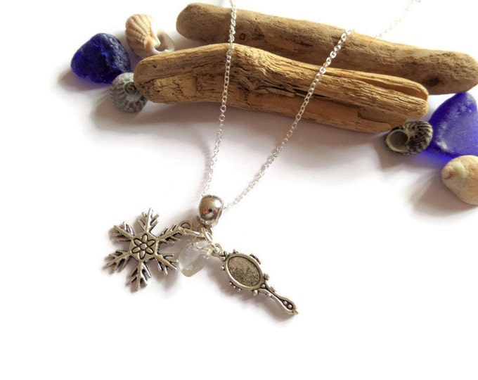 """ONCE UPON a TIME inspired Snow Queen silver charm 20"""" necklace fan gift princess jewellery Uk"""