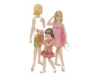 1960s girl's dress pattern, Butterick 3130, size 10, beachwear, panel print, low flounce, lace trim, gathered at yoke, round neckline, UNCUT