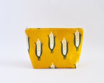 Cosmetic Bag, Zipper Pouch, Makeup Bag, Makeup Pouch, Cosmetic Pouch, Toiletry Bag - Mustard Yellow Corn