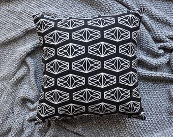 Black Cushion Cover, Throw Pillow Cover, Throw Cushion Cover, Decorative Cushion Cover, Decorative Pillow Cover - Diamonds