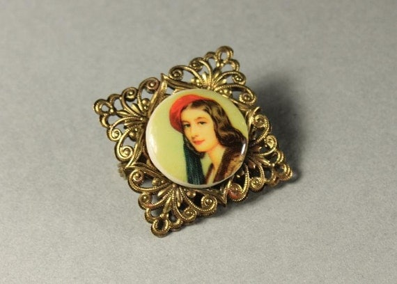 Hand Painted Portrait Brooch, Porcelain Brooch, Brass Filigree, Western Germany, Locking C Clasp, Fashion Pin