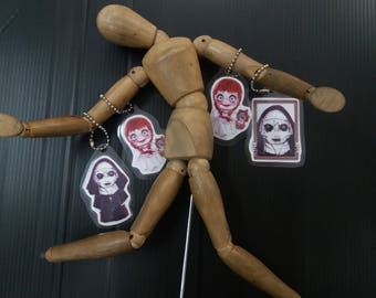 The Conjuring , the nun and Annabelle key chains set