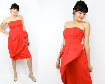 Vintage 80's Red VICTOR COSTA Strapless Cocktail Dress / Big Bow / Evening Dress / Women's Size Small/Medium