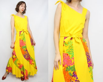 Vintage 70's Yellow Bias Cut Maxi Dress / 1970's Fruity Dress / Floral / Bright / Women's Size Small / AS - IS Vintage