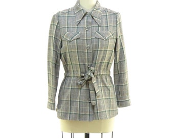 Vintage 1970's, Green Plaid Jacket with Cinched Waist. Bert Geiger for Tudor Square!