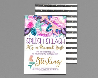 Mermaid Birthday Invitations, Under the Sea, Splish Splash Mermaid Bash, Gold Invite Printable, Swimming Party 2nd, 3rd, 4th, 5th, 6th