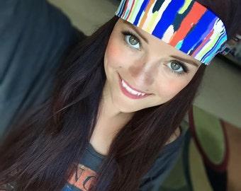 Lucky ~ #334 Striped Headband, Rainbow Headband, Headband, Hippie Runner, Hippie Headband, Running Headband, Fitness Headband, Yoga Headband