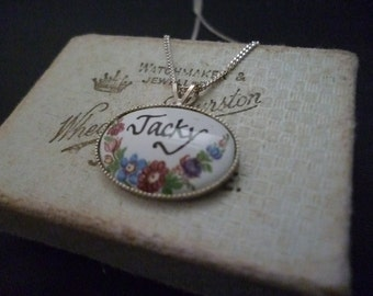 """Vintage sterling silver and hand painted porcelain 'Jacky' pendant necklace - 925 - 16"""" necklace"""