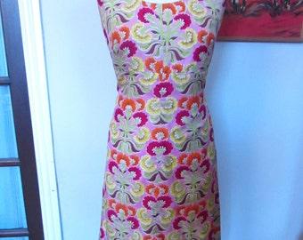 1960s handmade floral silk-feel shift dress