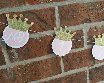Princess Photo Banner... First Birthday... Baby Girl...