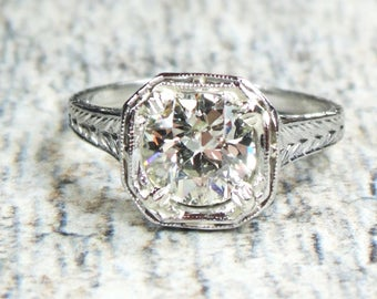 Vintage Diamond Engagement Ring Antique Diamond Engagement Ring 1.16 Carat GIA Certified Diamond Platinum Engagement Ring Art Deco 1920's