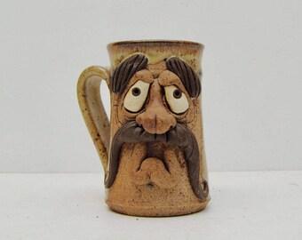 Mustache Man Pottery Beer Mug; Weird Ugly Face Big Nose Shrunken Head Cup; FREE SHIPPING U.S.A.