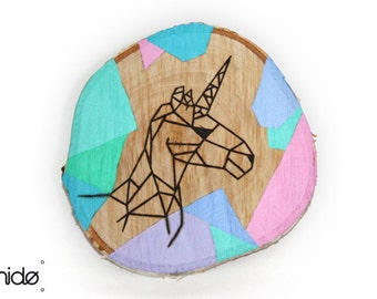 Unicorn Art Deco wooden disc