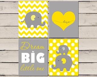 Elephant yellow and grey Nursery Art, Elephant Nursery Print, Dream Big Little One Decor, Printable Elephant Decor set of 4 prints 8x10