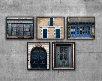 Home Decor Print Set, Doors and Windows Photos, Rustic French Decor, Wall Art Set of 5, France Photography, Hallway Pictures