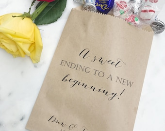 A sweet ending to a new beginning! Favor Bags - For wedding favors, bridal shower, or engagement party candy bar!