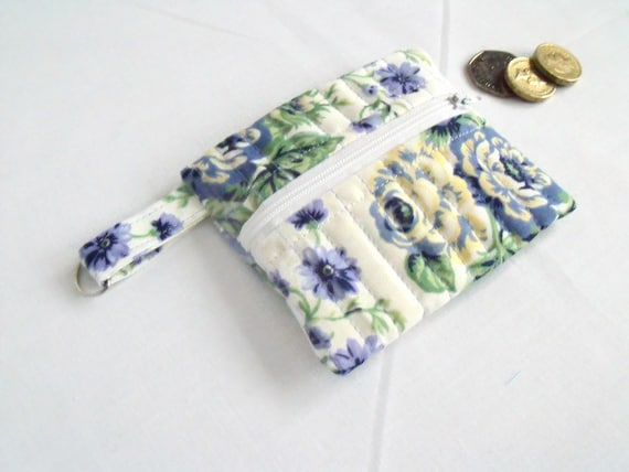 cotton purse, coin holder, key ring purse, key chain wallet, small coin holder, credit card pouch, turquoise lilac floral fabric