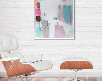Home&Decor, Abstract Fine Art Print, abstract print, pink abstract,blue, BLUE MEDITATION