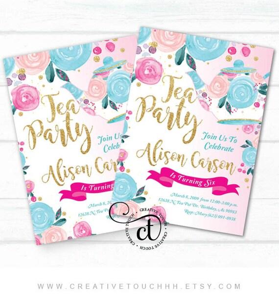 tea party invitation tea party birthday invitation tea party