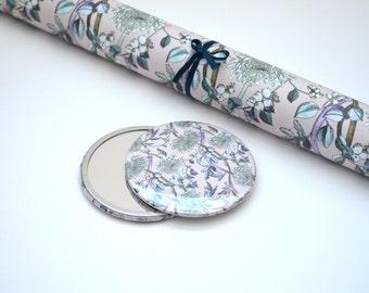 Floral Pocket Mirror - Gift for her - Stocking Filler