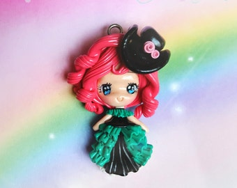 Edwardian, Polymer Clay, Pendant, Fimo, Steampunk, Red Hair, Hat