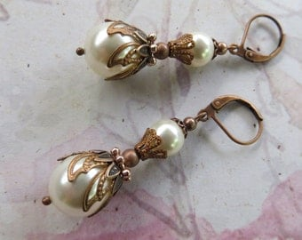 CREAM PEARL EARRINGS Copper Weddings Filigree Antique Jewellery Jewelry Gift for Wife Vintage Drop Swarovski Ivory Bridesmaid Bridal Dress