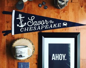 Savor the Chesapeake Pennants - Maryland Hoke Decor