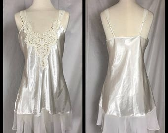 Satin Chemise with Chiffon Ruffle and Beaded Motif Applique Bodice  by Dentelle - Size Small