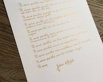 Gold Calligraphy Handwritten Love Letter or Poem on Ivory or White Cardstock -Calligraphy Gift or Keepsake