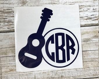 Guitar Monogram Decal / monogram sticker / guitar decal / guitar sticker / monogram decal / car monogram / laptop decal / guitar decal