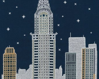 DMC BK1724 New York by Night Cross Stitch Kit from the Glow in the D'Architecture Collection designed by Mr X Stitch