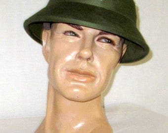 Men's Vintage, North Vietnamese Army, Hunter Green Canvas, Pith Helmet
