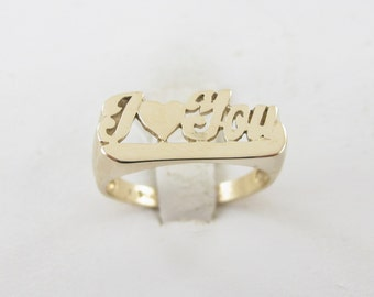 14K Yellow Gold I Love You Ring, 14k Gold Valentines Friendship Ring Size 7 1/4